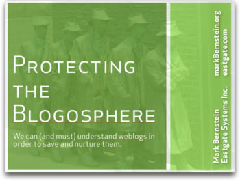 Logo of Mark Berstein's presentation at Blogtalk Downunder : Protecting the Blogsphere
