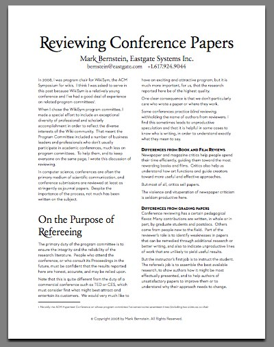 Reviewing Conference Papers